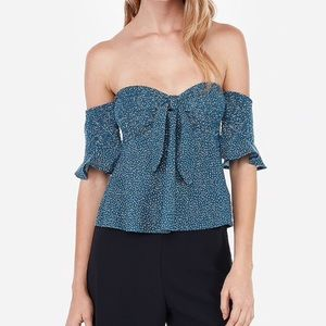 NWT Express Printed off shoulder top